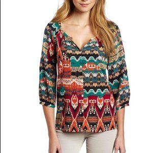 Lucky Brand Alexis Peasant Button Blouse M